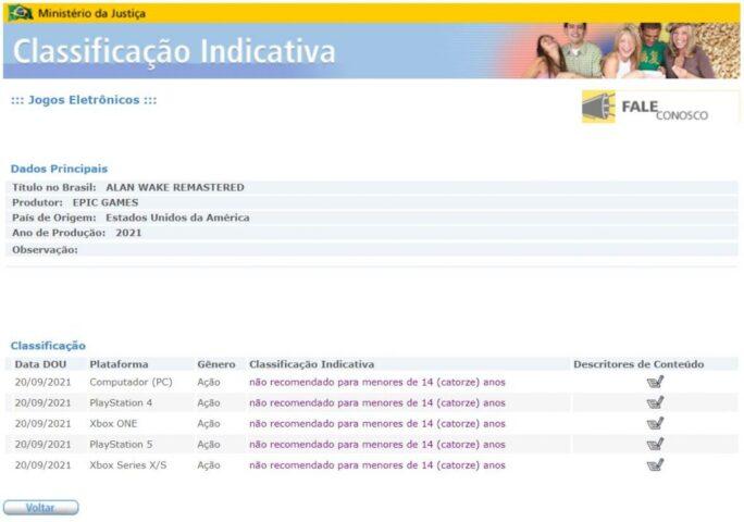 Alan Wake Remastered em classificação indicativa do Ministério da Justiça | Divulgação/Olhar Digital