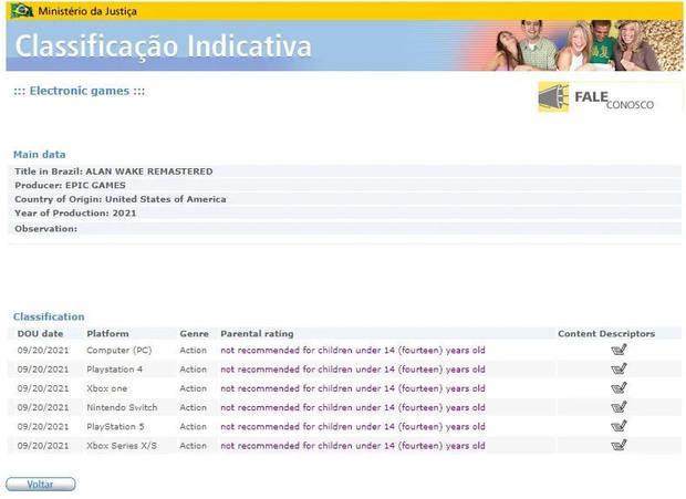 Alan Wake Remastered em classificação indicativa do Ministério da Justiça | Divulgação/EuroGamer